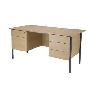 Jemini Intro 1500mm 4 Leg Double Pedestal Desk Ferrera Oak KF838380