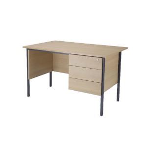 Jemini Intro 1200mm 4 Leg Desk with 3 Drawer Pedestal Warm Maple KF838535