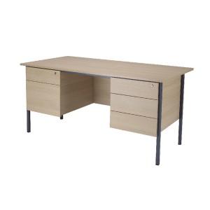 Jemini Intro 1500mm 4 Leg Desk Double Pedestal Warm Maple KF838538