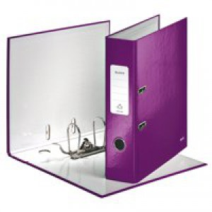 Leitz 180° WOW Lever Arch File A4 Laminated 80mm Purple