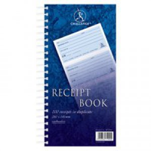 Challenge Duplicate Receipt Book Wirebound 4 Sets per Page 200 Receipts 280x152mm Code M71990