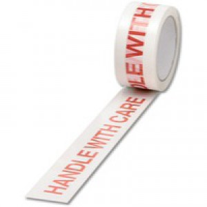 Ambassador Polypropylene Tape Printed Handle with Care White/Red 50mm x66 Metres