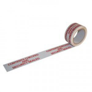 Printed Tape Contents Checked Polypropylene 50mm x 66m Red on White [Pack 6]
