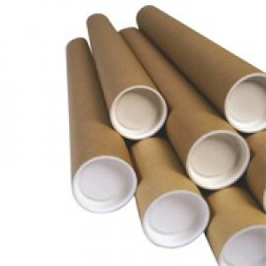 Postal Tube Cardboard with Plastic End Caps L610xDia.75mm [Pack 12]