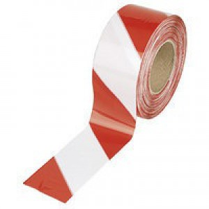 Flexocare Barrier Tape Dispenser 72mm x500 Metres Red/White Polythene 7101001