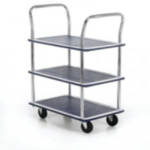 Barton 3-Shelf Trolley with Chrome Handles Silver/Blue PST3