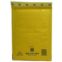 Mail Lite Bubble-Lined Postal Bag Peel and Seal Gold 180x260mm Pack of 100 MLGD/1