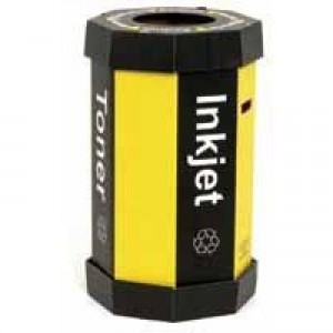 Acorn Cartridge Recycling Bin 60 Litre Black/Yellow Pack of 5 059783