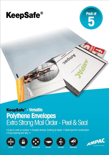 KeepSafe DXB Envelope Extra Strong Polythene Opaque W440xH320mm Self Seal Ref P26 [Box 100]