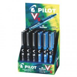 Pilot V5 Hi-Tec Rollerball Pen 24-piece Display Assorted Black and Blue 100502400