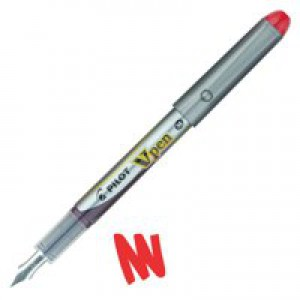 Pilot VPen Disposable Fountain Pen Red Ink Metallic Grey Barrel SVP-4M-R
