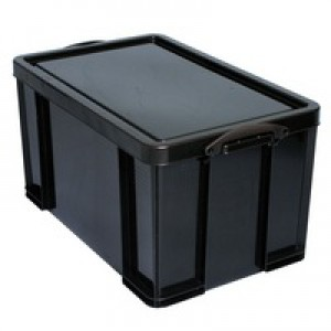 Really Useful Storage Box Plastic Recycled Robust Stackable 84 Litre 444x710x380mm Black Code 84L