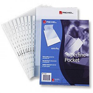 Rexel Superfine Polypropylene Multi Pocket Clear Pack of 100 RSPA4 11040
