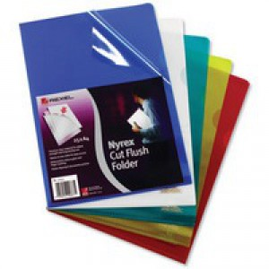 Rexel Nyrex Cut Flush Folder A4 PVC Assorted Pack of 25 PFCA4C 12161AS