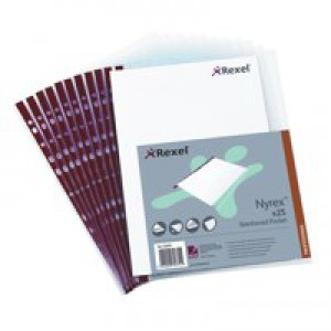 Rexel Nyrex Pocket Reinforced Red Strip Side-opening A4 Clear Ref 12253 [Pack of 25]