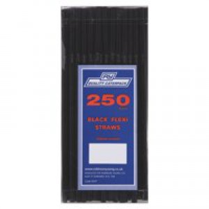 FLEXI STRAWS 210x6mm Pk250 Black
