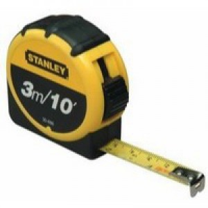 Stanley Retractable Tape Measure With Belt Clip 3 Metre 0-30-686