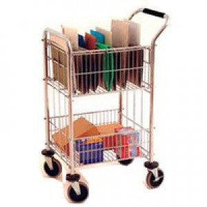 Mail Room Trolley with 2 Baskets Chrome 320537