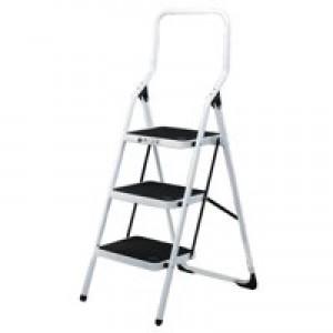 Folding Step Stool 3-Tread High Back White Aluminium 321678