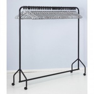 Garment Rail Black With 30 Grey Hangers 311418