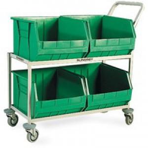 Mobile  Storage Trolley c/w 4 Bins Green 321296