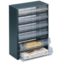 Image for Dk.Grey Clear 6 Drawer Storage Cabinet