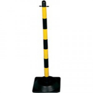 Freestanding Post Triangular Concrete-Weighted Base Yellow/Black 328271