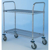 Image for 2 Tier 610x1070mm Chrome/Steel Trolley