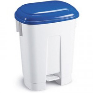 Derby Plastic Pedal Bin 30 Litre White/Blue 348022