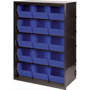 Metal Bin Cupboard with 15 Polypropylene Bins Dark Grey/Black 371831