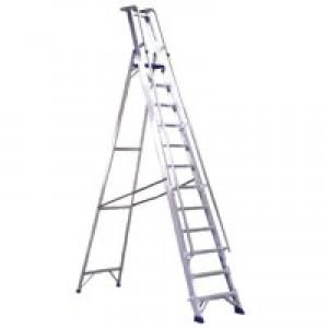 Alumiunium Step Ladder with Platform 10 Steps 377860