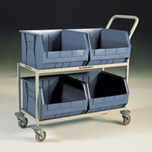 Mobile  Storage Trolley c/w 4 Bins Grey 383377