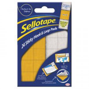 Sellotape Sticky Hook and Loop Sets 24 Sets 20x20mm Code 504049