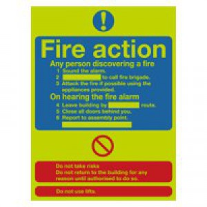 Safety Sign Niteglo Fire Action Stand 300x250mm Self-Adhesive FR03527L