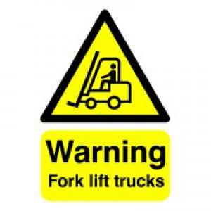 Safety Sign Warning Fork Lift Trucks A5 Self-Adhesive HA23851S