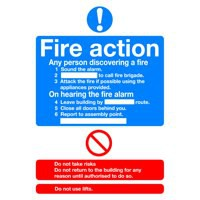 Image for Fire Action Std A5 Self-Adh Sign