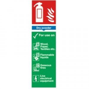 Safety Sign Fire Extinguisher Dry Powder 280x90mm Self-Adhesive F201/S