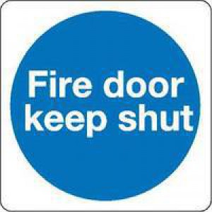 Safety Sign Fire Door Keep Shut 100x100mm Self-Adhesive KM14AS