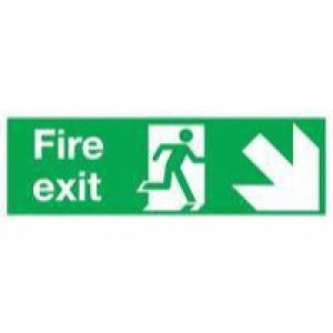 Safety Sign Fire Exit Running Man Arrow Down Right 150x450mm Self-Adhesive E99S/S