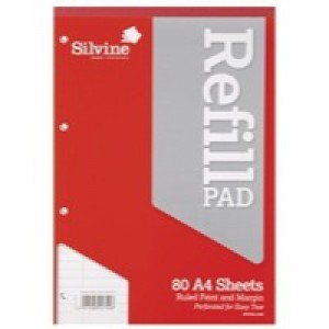 Silvine Refill Pad A4 Punched 4 Hole Headbound 80 Leaf Ruled Feint and Margin Pk6 A4RPFM