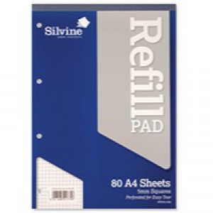 Silvine Refill Pad A4 80 Leaf Ruled 5mm Square A4RPX