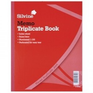 Silvine Triplicate Memo Book 254x203mm Pk6 606
