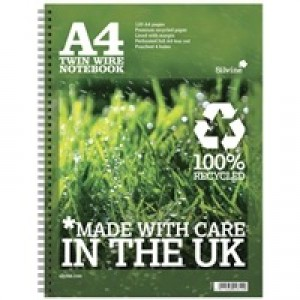 Silvine Recycled A4 Twin Wire Notebook Green 120 Pages R102
