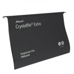 Twinlock Crystalfile Extra Suspension File Foolscap 15mm Black Pk 25 3000080
