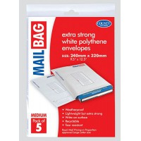 Image for  5 Extra Strong White Polythene Mail Bags  Envelopes Size- 240mmx320m Pk5 24CM X 32CM