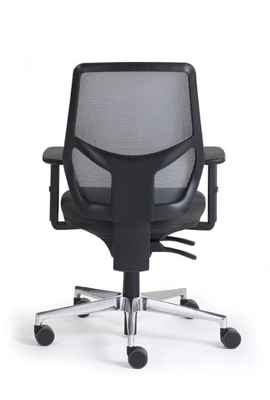 Remi Mesh Task Chair with Black Mesh back and Phoenix Havana (Black) seat. Polished aluminium base and height adjustable arms.