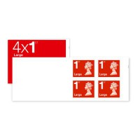 Image for 4 x large letter 1st class stamps (self adhesive) 25 books - total 100 stamps