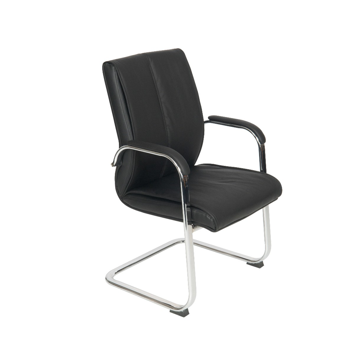 Medium Back Cantilver Executive Boardroom Arm Chair Black Faux Leather