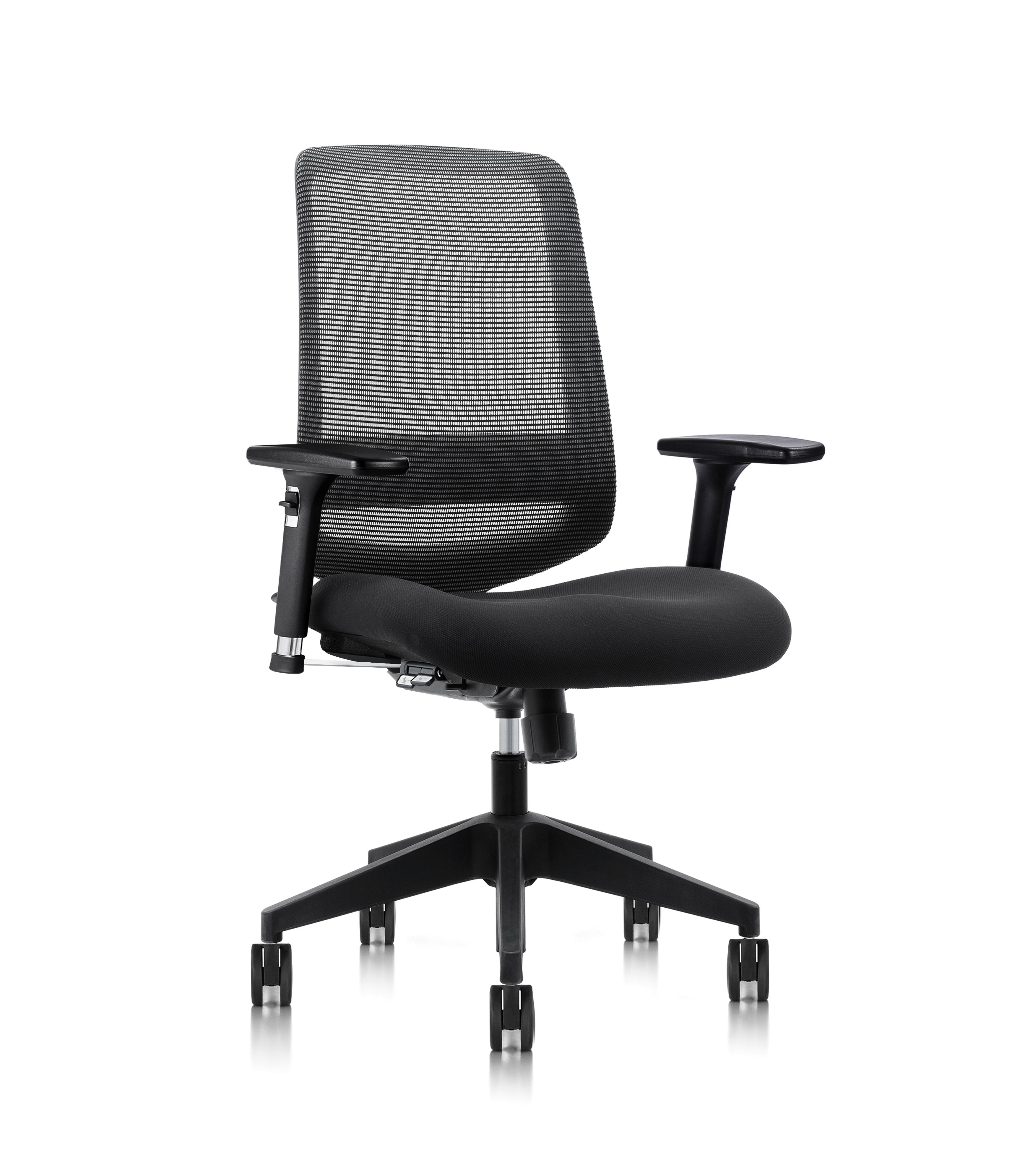 C19 - The Ultimate Contract Task Chair. This exceptionally comfortable, great value contract chair features ergonomic design and adjustment without compromising on style. Synchro mechanism at 2:1 ratio. Waterfall seat, 3D arms and pictoral controls.