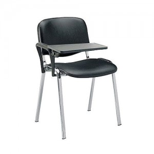 Image for 21SC Chrome Frame Side Chair Black Vinyl and Right Hand Writing Tablet